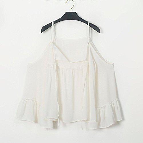 Bluestercool Femme T-shirt Sexy Chiffon Tops Flare Sleeve Décontracté sans bretelles V Neck Blanc