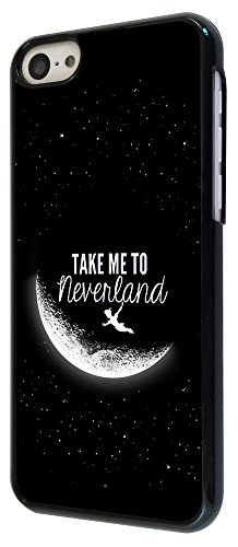 021 - Cool Funky Moon take me to neverland Design iphone 5 5S Coque Fashion Trend Case Coque Protection Cover plastique et métal - Noir
