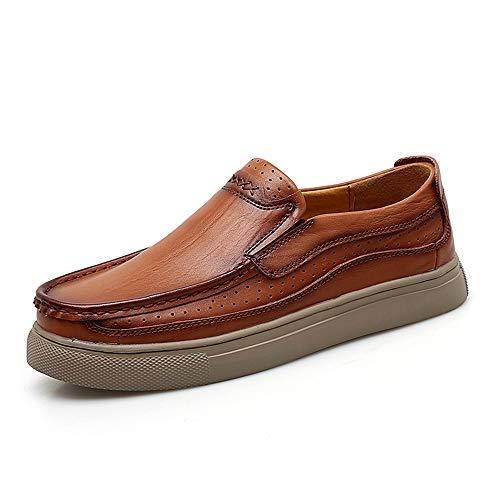 SJ-COOL Oxford Schuhe für Männer Licht Flexible und einfache Reine Farben Formale Schuhe Slip On Style Echtes Leder (Color : Braun, Größe : 40 EU)
