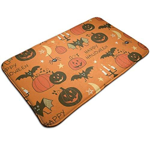 ppy Halloween Party Patterns Doormat Entrance Floor Rug Indoor Mat Non-Slip Flannel for Bedroom Bathroom Living Room Kitchen Home Decorative ()