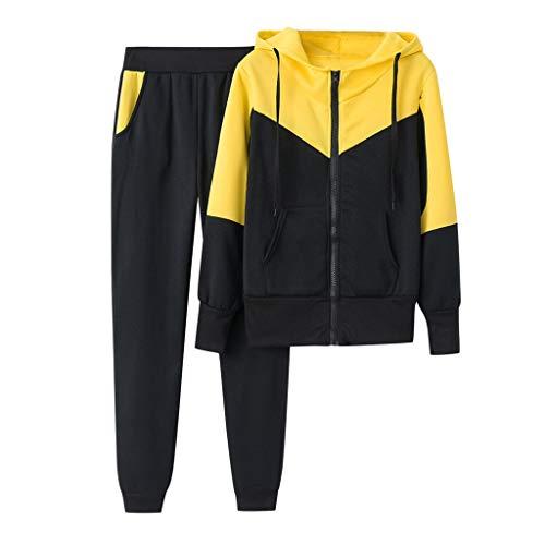 Sllowwa Damen Jogginganzug Trainingsanzug Sportanzug Einfarbig Kapuzenpullover und Hose Trainingsanzug Sportanzug(Gelb,XL)