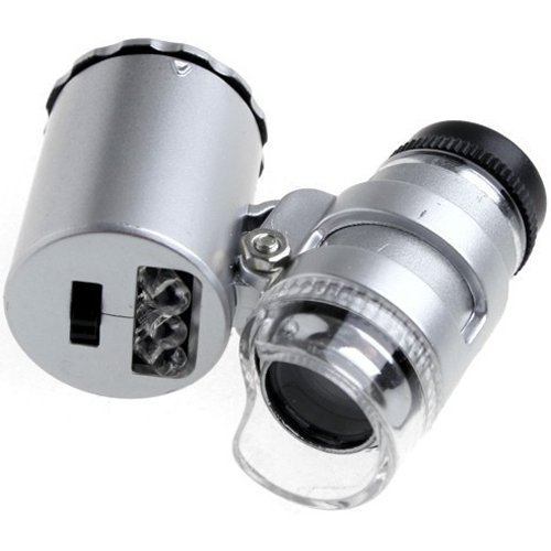 Shopee Smallest 60x Microscope 2 LED Eye Lens Mini Magnifier Loupe with UV Light (Silver)