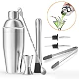 HEMCER Shaker da cocktail in acciaio inox, 750ml, set da cocktail professionale: shaker per cocktail, martinishaker, frullatore con colino, misurino, cucchiaio da bar, beccuccio, pinza per ghiaccio