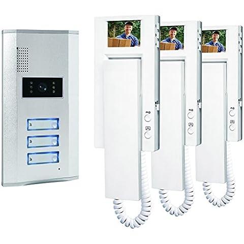 Smartwares VD63 - Sistema de video portero para 3 apartamento, 4 alámbricos, con 2 vías de comunicación de audio