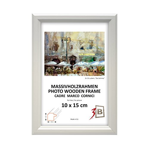 rahmen JENA - weiß - 13x18 cm - Holzrahmen, Fotorahmen, Portraitrahmen mit Plexiglas (10x13 Weißen Bilderrahmen)