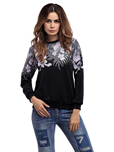Fortuning's JDS Casual Printed Langarm Crewneck Sweatshirts Für Frauen (Printed Crewneck Sweatshirt)