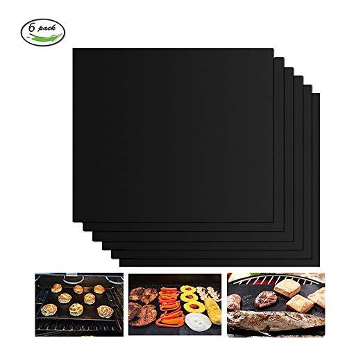 GQC Tappetini da Barbecue Set di 6 Mat Cottura BBQ in Teflon Approvati da FDA Antiaderenti Riutilizzabili Resistenti a Temperatura Alta Adatti per Griglia a Gas Carbone Forno e Griglia Elettrica