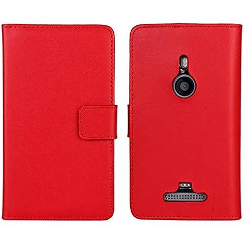 Lumia 925 Custodia,COOLKE [Rosso] Flip Protettiva Custodia Moda PU Pelle Stand Custodia Case Cover Per (Pronto Basamento Della Bandiera)