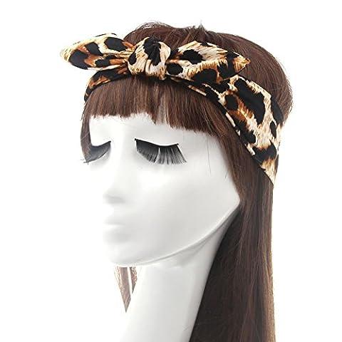 Fletion Léopard Zèbre Bandeau lapin Oreille Bowknot Hairband Traverser Turban Élastique Headwrap Tordu Noué Head Wrap pour les femmes Ladies