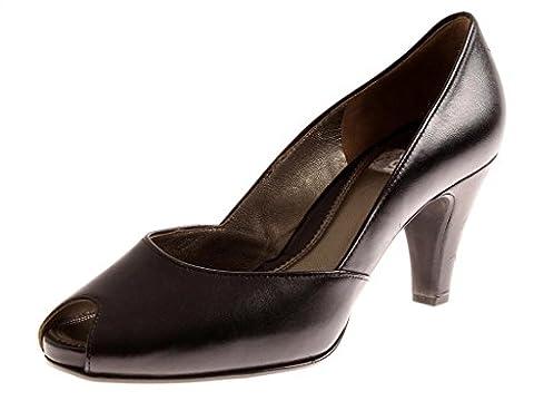 Gabor Shoes 61.600 Damenschuhe Peep-Toe Leder Schuhe Pumps schwarz 38.5 EU 5.5 (Schwarz Peep Toe)