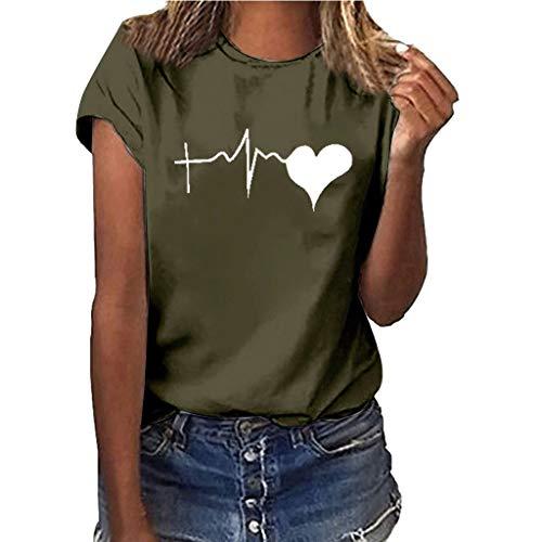 JYJM Mädchen Frauen Plus Size Elektrokardiogramm Print Kurzarm Shirt Sommer Atmungsaktiv Bequem Freizeit Bluse O-Ausschnitt Mode Wild Strand Shirt Tops -