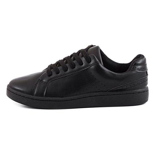 Super Trendige Vollfarbige Color Damen Schnür Sneaker in verschiedenen Farben Schwarz