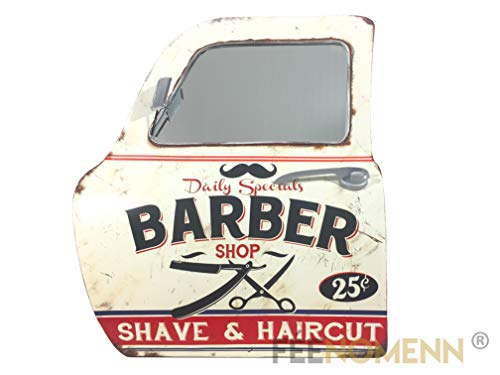 Feenomenn specchio decorativo 3d–lampada da parete vintage in metallo–porta/portiera auto–barbier parrucchiere–barber shop (46x 42cm)