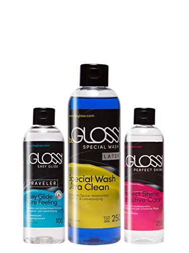 Latex Pflege Komplett SET - Easy GLIDE 100 ml - Perfect SHINE 100 ml - Special WASH 250 ml - Silikon Öl Gummi Silicon Anziehhilfe Waschmittel