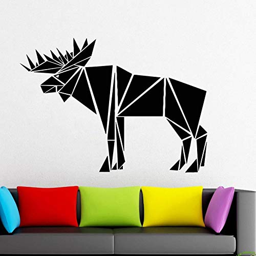 guijiumai Bull Elk Ganzkörper-Abziehbild Elk Geometric Animals, Car Stickers, Triangles, Lines Wall Decal Fensteraufkleber Handmade Vinyl weiß L 79X57cm Home-security-sticker