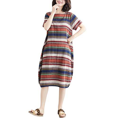 Damen Striped Fashion Dresses, Sommerkleid Baumwolle Leinen Tops Kurzarm Hemd Oansatz Lose Plus Size Pocket Tunika Freizeitkleider Leinenkleid Tuchkleid Blusenkleid Rot L