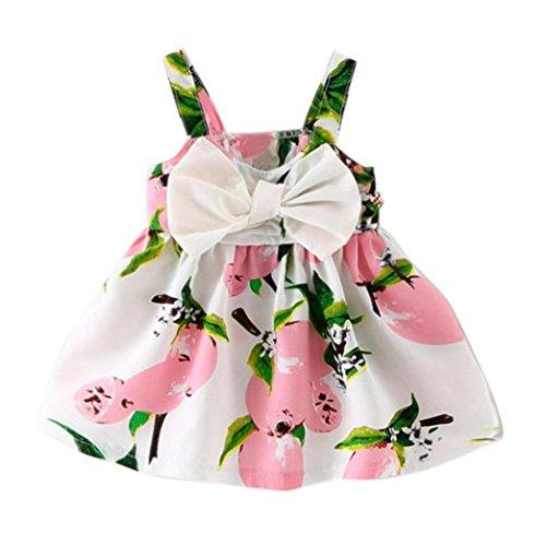 Culater® Piccola Vestiti Lemon Stampato Neonato Vestito Senza Maniche Sling Vestito Da Principessa (6M, Rosa)