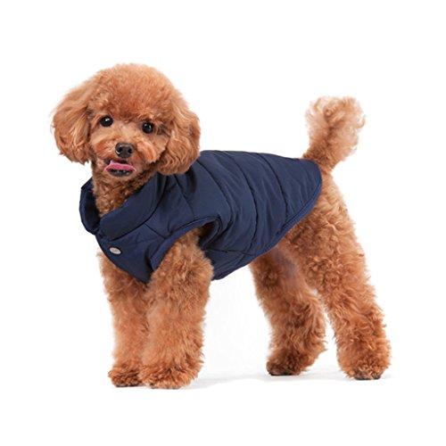 ubest Hundemantel Warm Winterjacke Verdicken Zotte Baumwolle Gepolstert Puffer Weste, Blau, 35*50*36 CM, Größe M