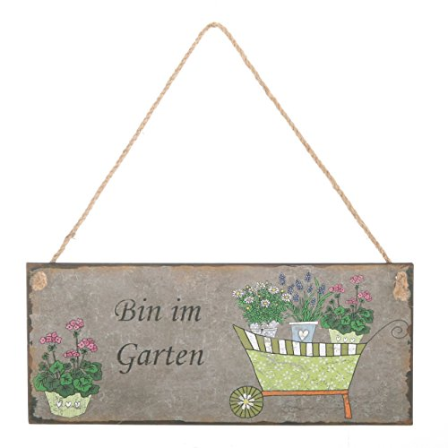 Dekoschild BIN IM GARTEN - Metallschild - Gartenschild - Wanddeko