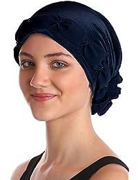 Gerafft und Perlen Kopfbedeckung für Haarverlust, Krebs, Chemotherapie