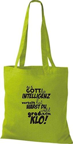ShirtInStyle Stoffbeutel Baumwolltasche Als Gott die Intelligenz verteilt... KLO! Farbe Pink kiwi