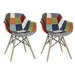 Fashion Commerce 02-fc6922Lot de 2fauteuils avec accoudoirs en Tissu Patchwork, Multicolore, Set de 2chaises, 2unités