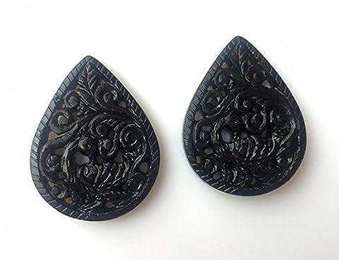 Unique Paon Onyx Noir Gravures, sculpté à la main, pierre Gravures, Noir Pierre précieuse Gravures, assortis paires, 41x