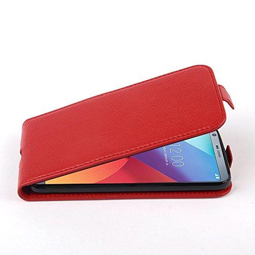 Cadorabo Hülle für LG G6 - Hülle in Inferno ROT - Handyhülle aus Strukturiertem Kunstleder im Flip Design - Case Cover Schutzhülle Etui Tasche -