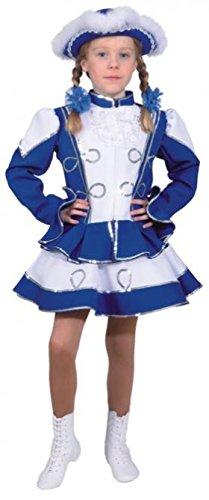O664-140 Funkenkostüm Kinder-Mädchen blau-weiß mit Silberborte Gr.140 (Polen Kostüm Kinder)