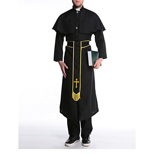Moojm Männer Halloween-Spiel Rollenspiel Cosplay Uniform Cross-Katholische Outfit Fantasie Für Halloween-Party-Kostüm