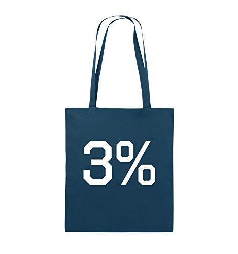 Comedy Bags - 3% - LOGO - Jutebeutel - lange Henkel - 38x42cm - Farbe: Schwarz / Silber Navy / Weiss