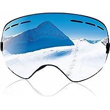 ZIONOR Lagopus X Motos de Nieve Snowboard Skate Gafas de esquí con Desmontable Lens y Lente Gran Angular Antiniebla Gran Esférico Profesional Unisex Multicolor (Plata)
