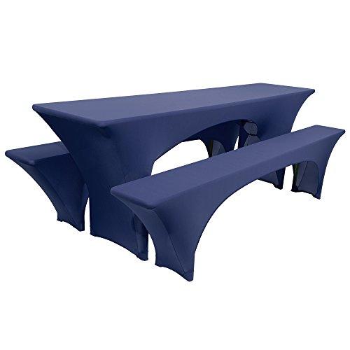 Beautissu Victoria elastische Biertischhusse 220x50 cm + 2 Bierbank-Hussen 3 TLG. Bierzeltgarnitur-Set - Dunkel-Blau & weitere Farben