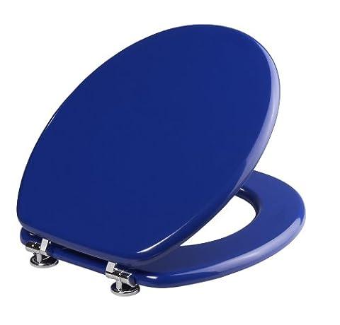 Cornat KSH33 Abattant de WC Modena en panneau MDF avec charnières en acier inoxydable Bleu