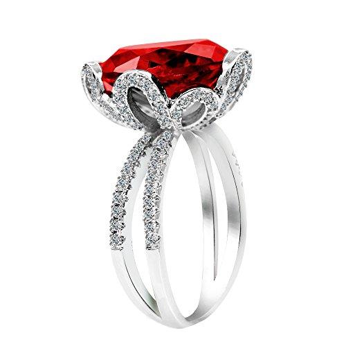 Uloveido Damen Silber Farbe Kissen Cut Simuliert Roter Rubin Ringe Vintage - Einzigartige rote Blume Birthstone Ring Geburtstagsgeschenke für ihre Frauen Mädchen Größe 57 (18.1) RJ212 (Birthstone Billig Ringe)