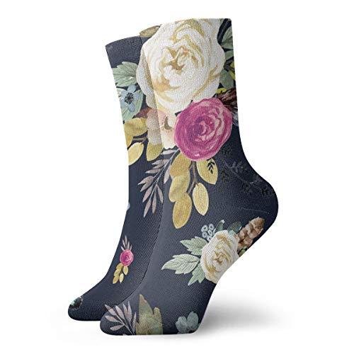 Huabuqi Socken damen 39-42 8 Western Autumn Mauve Flower - Navy_4180,100% Baumwolle rutschfest für Männer, Frauen, eine Größe. (Cheshire Katze Mann Kostüm)