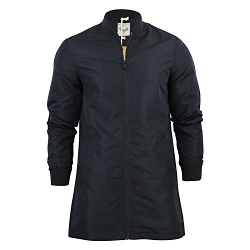 Longline da uomo Brave Soul flyermac Bomber giacca Harrington A Cerniera MA1Cappotto Black Large