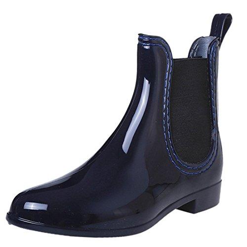 QIYUN.Z Chelsea Stil Schwarze Pvc Wasserdichte Regen Stiefel Frauenknoechel Flache Ferseschuhe Blau