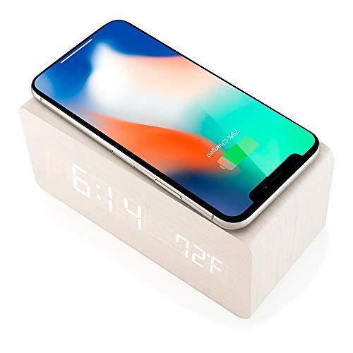 Reloj Despertador de Madera con Almohadilla de Carga Inalámbrica Qi Compatible con iPhone Samsung Madera LED Reloj Digital Función de Control de Sonido, Fecha y Hora
