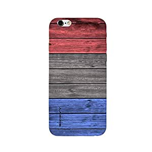 RICKYY _ip6S_1058 Printed matte designer Blue Brown amp Red Wood case for Apple iPhone 6s