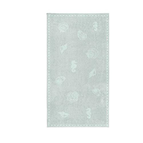 Seahorse - Strandtuch - Badetuch - 100 % Baumwolle - Shells / Muscheln - misty green / grün 100 x 200 cm (Shell Bettwäsche)