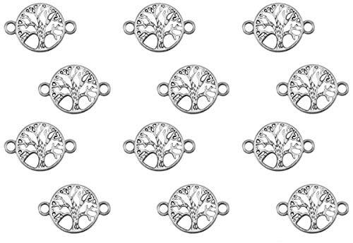 Sadingo Schmuckverbinder Lebensbaum Silber aus DQ Metall, 22x15 mm - Großpackung Großhandel - Lebensbaum Armband basteln