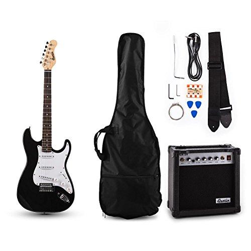 Austin RC200 E-Gitarren Bass Gitarre-Set Einsteiger Komplettset im Stratocaster-Style (20W Gitarrenverstärker, Instrumentenkabel, Gitarrengurt, Gitarrentasche, Stimmpfeife) schwarz