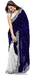 Fashion Dream Women's Velvet & Net Saree (AC_Blue Velvet_Blue-White_Free Size)