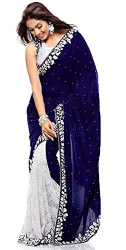 Fashion Dream Velvet & Net Saree (Ab-Blue Velvet_Blue-White)