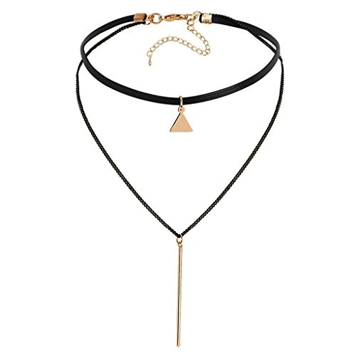 Gnzoe Donna Choker Girocollo Collane Adjutable, Raddoppiare Pelle Triangolo Strisciaes Forma Pendente Gotico Collare Oro Nero, 32.7+7.7 CM
