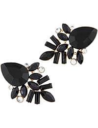 YAZILIND Boucles d'oreilles noir charmant goutte d'eau poisson de cristal en alliage pour les femmes