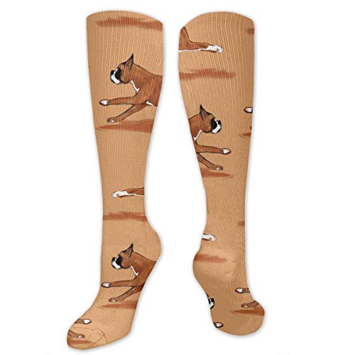 CVDGSAD Running Boxer Dog Men's/Women's Sensitive Feet Wide Fit Mannschaftssocken and Cotton Crew Athletic Sock -