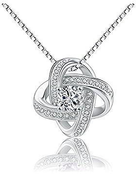 Silber Aufmachung Damen 925 Sterling Silber Zirkonia Halskette Anhänger 45cm Kette Schmuck#A413