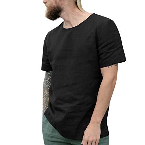 Junkie-fit-jeans (UINGKID Herren T-Shirt Kurzarm Slim fit Causal Shirt Top Button Baumwolle Leinen einfarbig lose Bluse)